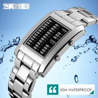 Silver digital watch sport style mens LED light up watches fashion alloy men watch