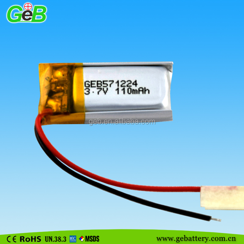 571224 li ion polymer 3.7V 110mAh rechargeable battery