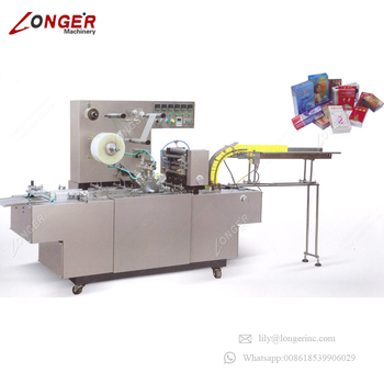 Industrial Automatic Tear Tape Perfume 3D Film Manual Packing Packaging Overwrapping Small Tea Box Cellophane Wrapping Machine