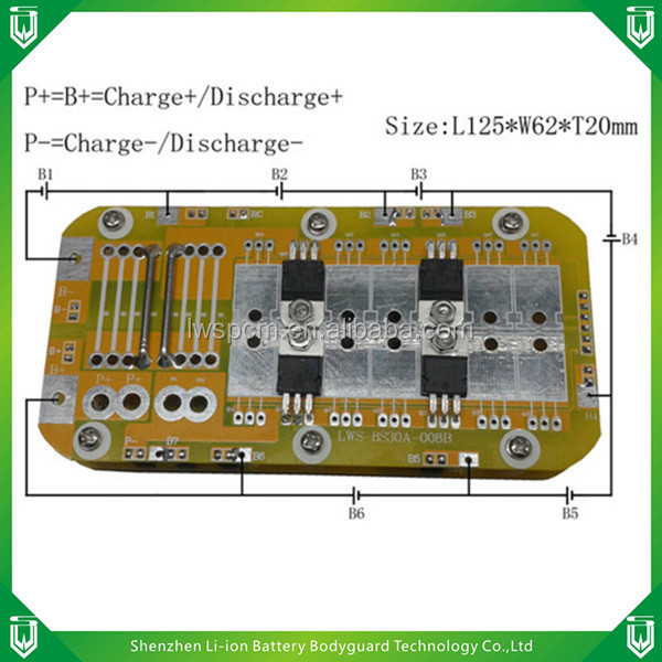 fr-4 pcba factory L125*W62*T20mm board/ 94v-o 6s 30a balance pcm/19.2v 22.2v 6s rigid bms pcb for industrial,flaw detector etc