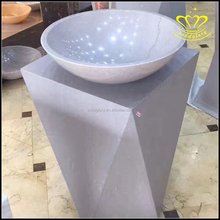 Wholesale for sale Round floor standing pedestal bathroom sink stone basin
