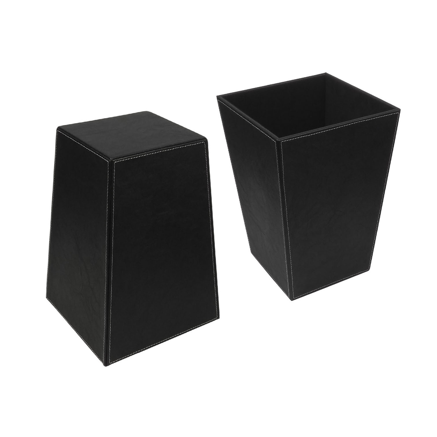 High Quality Elegant Classic Hotel OfficeLeather Waste Bin with Handle
