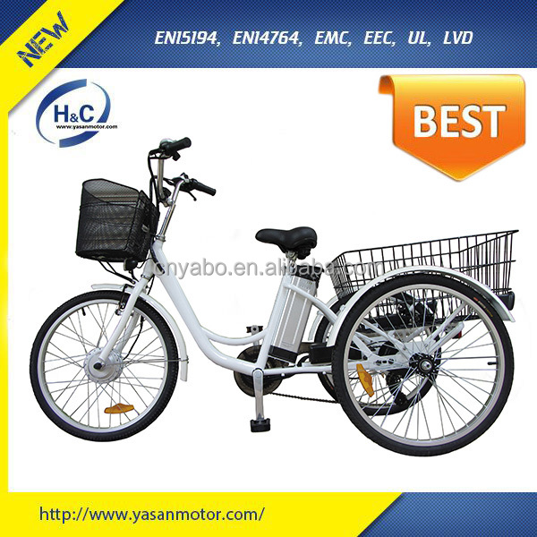 Three wheel electric motor bike 24 inch adult big wheel tricycle with basket