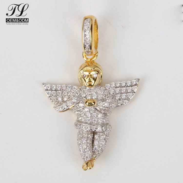2018 China wholesaler christian pious love angel italian silver costume jewelry