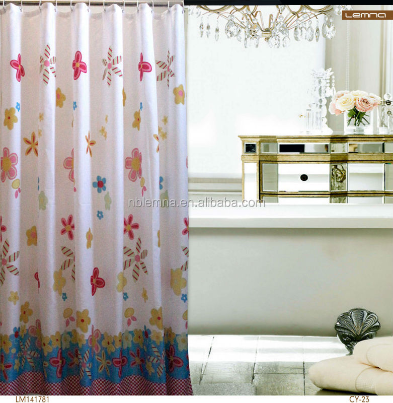 2014 prtinted peach flowers fabric design polyester shower curtain