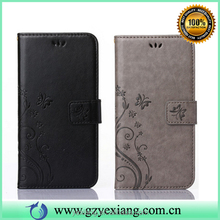 Mobile phone accessories embossed flower wallet leather flip cover for iphone 4 leather stand case with card slots