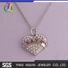 A500359 Yiwu Huilin Jewelry crystal peach YAYA heart alloy charming necklace