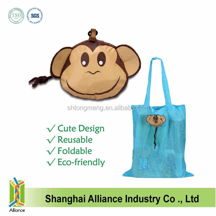 Cute Monkey Animal Shopping Bag Storage Reusable Tote Foldable Grocery Recycle Bag