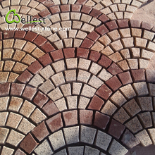 Bush Hammered Yellow Granite Fan Shape Pavers Mesh for Outdoor Paving