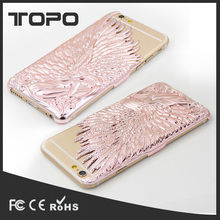 Embossed Angel Wing mobile phone 3D hard metal case for iphone6 6S 7 plus