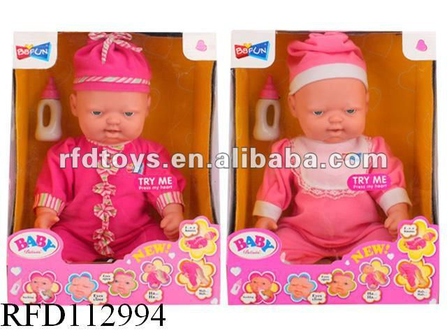 Plastic baby dolls with facial expression and sound