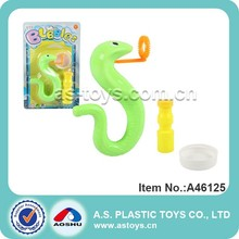 Cartoon snake style plastic soap blowing bubbles toy