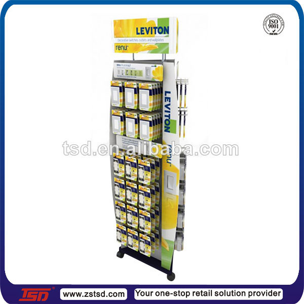 TSD-M403 3 sided spinner display for sockets/retails shop outlet display with castors/metal spinner rack