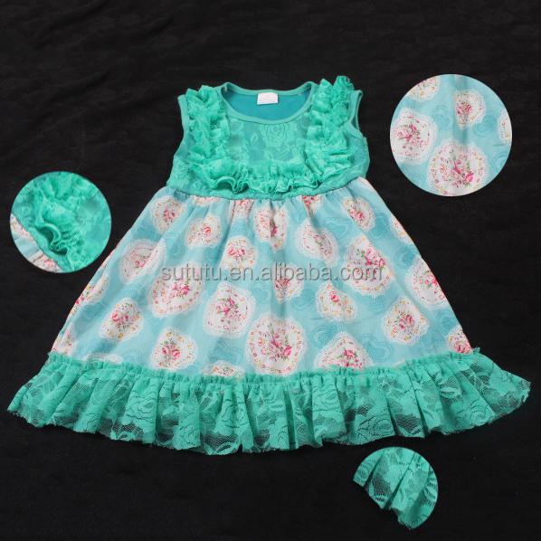 New style beautiful girls frocks designs latest lace green floral children long frocks designs organic baby clothes