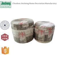 Set of 2 printing linen round storage stool with lid tray