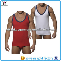 Mens low neck sexy strong wicking dry fit yoga vest bodybuilding tops running singlet