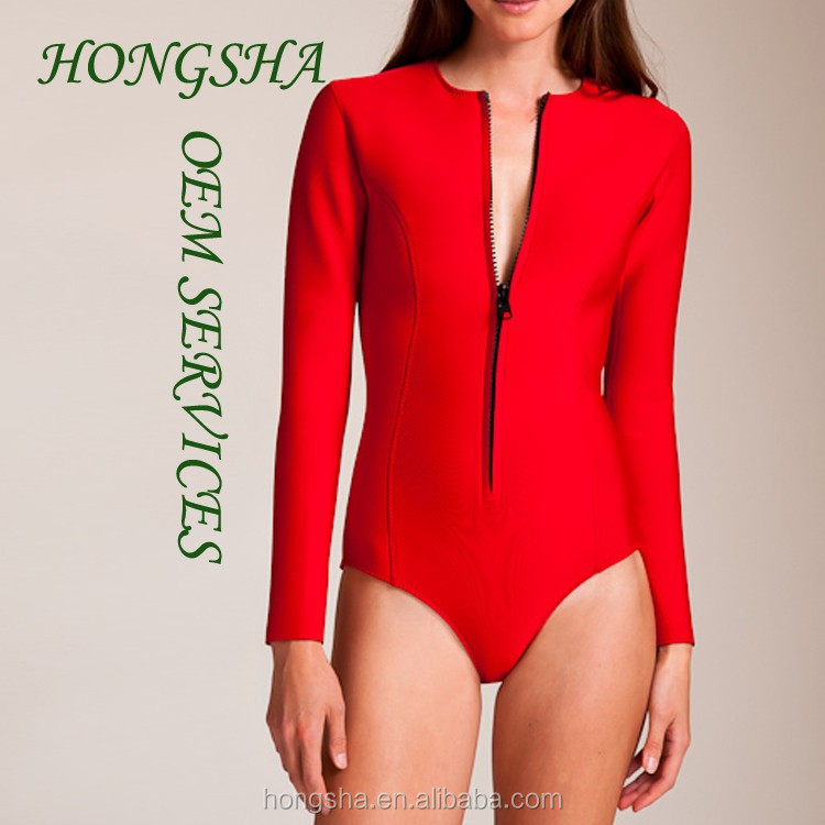 New Burnout Shinning Color One Piece Long Sleeve Womens Swimsuits HSs7054