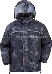 2015 latest dress design camouflage fabric motorcycle with hood waterproof windproof men clothing