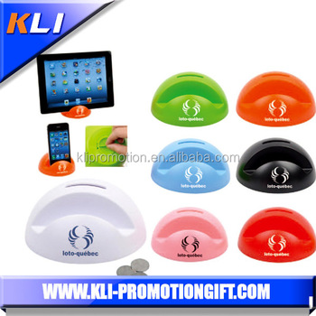 New design plastic mobile phone holder with money box