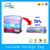 Folding plastic blanket storage vacuumize bag