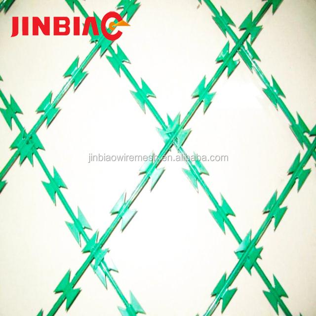 cross/single 10-15m cover (3-5 clips) galvanized razor barbed wire manufacture