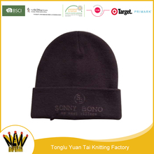 Custom wholesale solid color knit acrylic beanie co ltd young hat