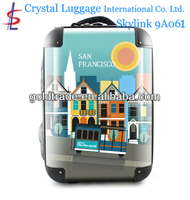 2014 100% Pure PC Luggage & Backpack America with Fashion Design and Colorful High Quality 4- Wheels Travel Trolley Luggage