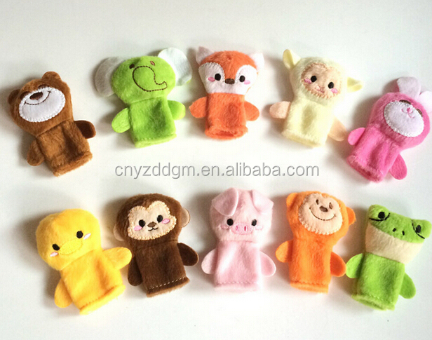 Finger Puppet Type and Plush,100% pp stuffing and polyester Material animals finger puppet toy