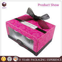 false eyelash folding paper box with ribbon