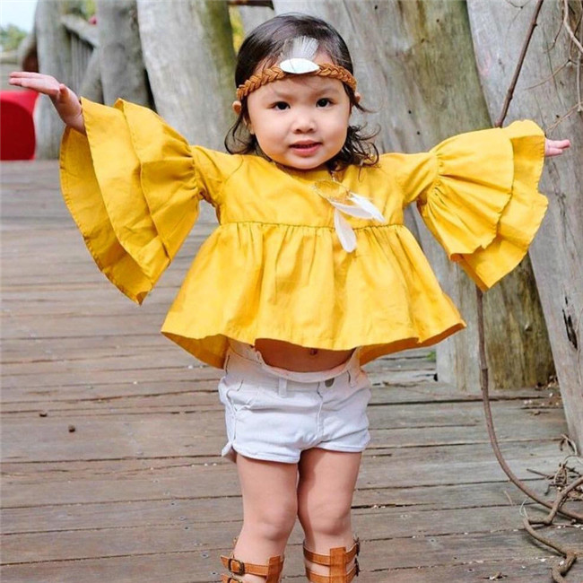 INS1163 High quality boutique summer newest model children yellow tops