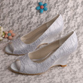 Silver Lace Bridesmaid Shoes Wedge