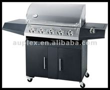 Outdoor commercial black round 5 burner bbq gas grill