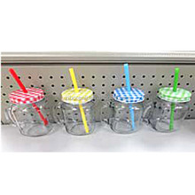 SET 4 Clear Clear Glass Mason Jar with Square Printing Tin Lid and PE Straws