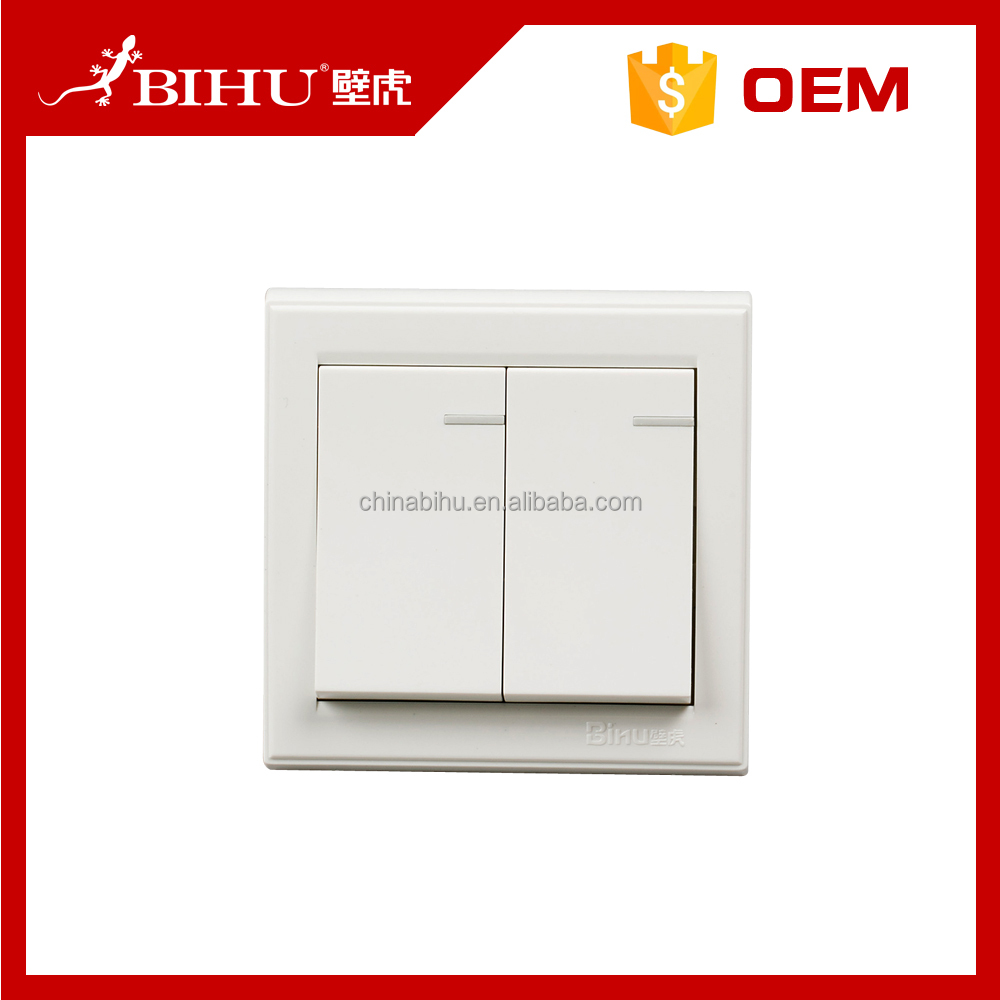 China supplier best wholesale websites BIHU 2 gang 1 way switch socket plates light switch for home