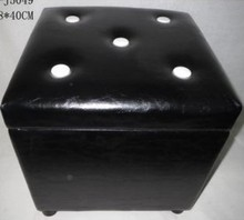 Black Leather Dice Design Storage Stool