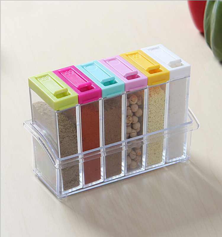 Set of 6 spice storage seasoning boxes plastic square kitchen condiment bottles