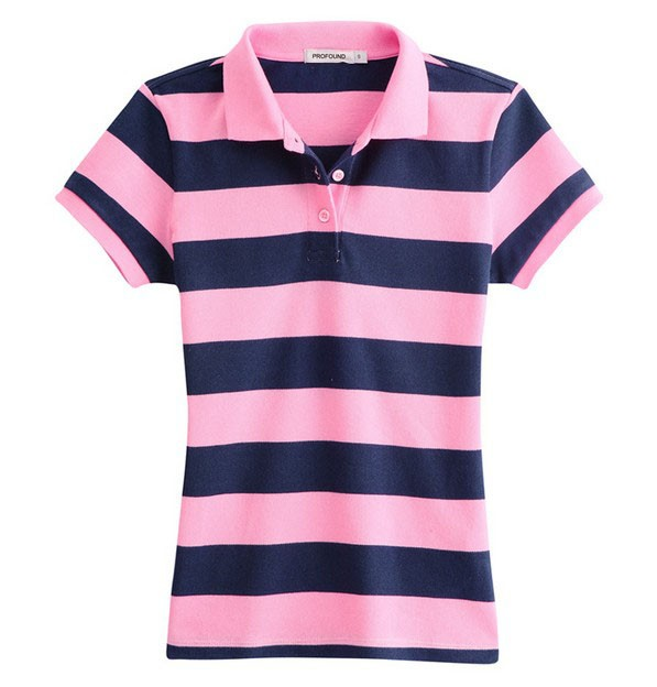 Wholesale custom cotton striped women polo shirts