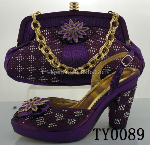 TY0089 elegant walking latest fashion italian purple shoes and bags to match women