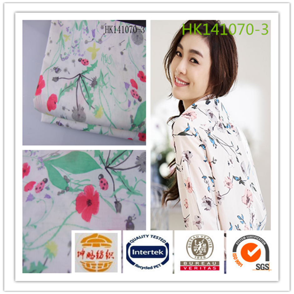 Wujiang textile soft floral printing 80 polyester 20 cotton t shirt fabric for sale