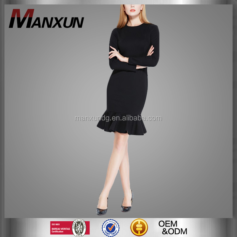 New Style Women Elegant Ruffled Dress Design With Exquisite Bodycon Long Sleeve Retro Dress