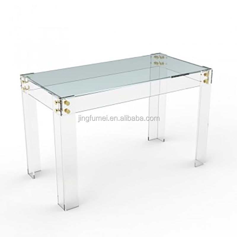 european style compact clear acrylic multi-function dining room table with 4 legs