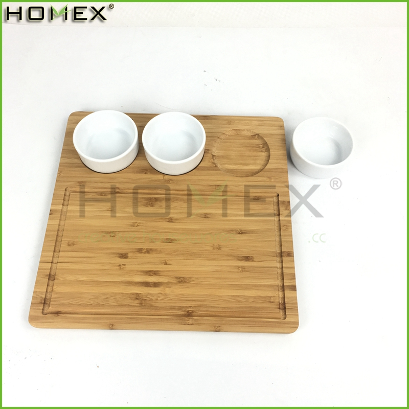 Kitchen bamboo vegetable cutting board with porcelain bowls Homex-BSCI