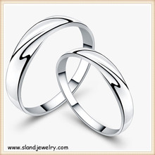 platinum or silver plating simple design sterling silver wedding ring sets ,Wholesale custom couples love theme jewellery rings