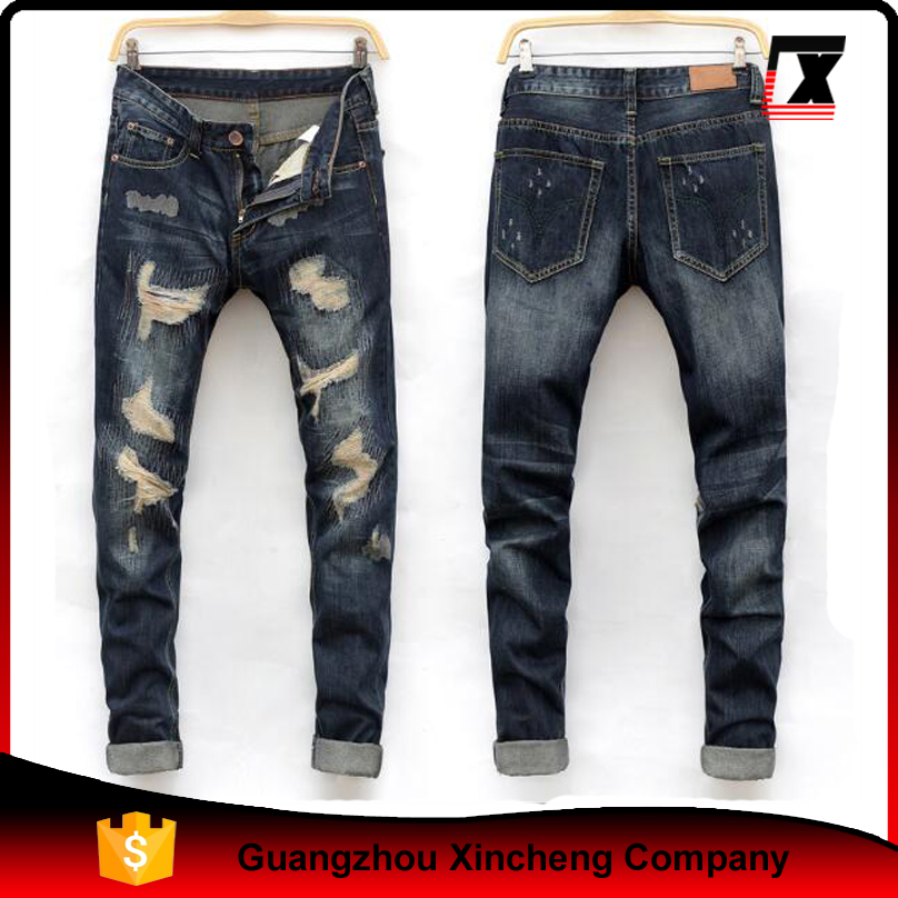 China factory OEM hot selling ripped holes young new style jeans men