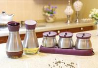 Glass cruet bottle condiment sets/stainless steel condiment holders glass cruet bottle vinegar oil glass condiment set