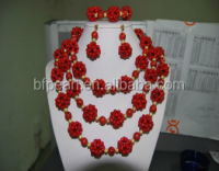 Wholesale three rows beaded girls coral necklace, bracelet, earrings sets
