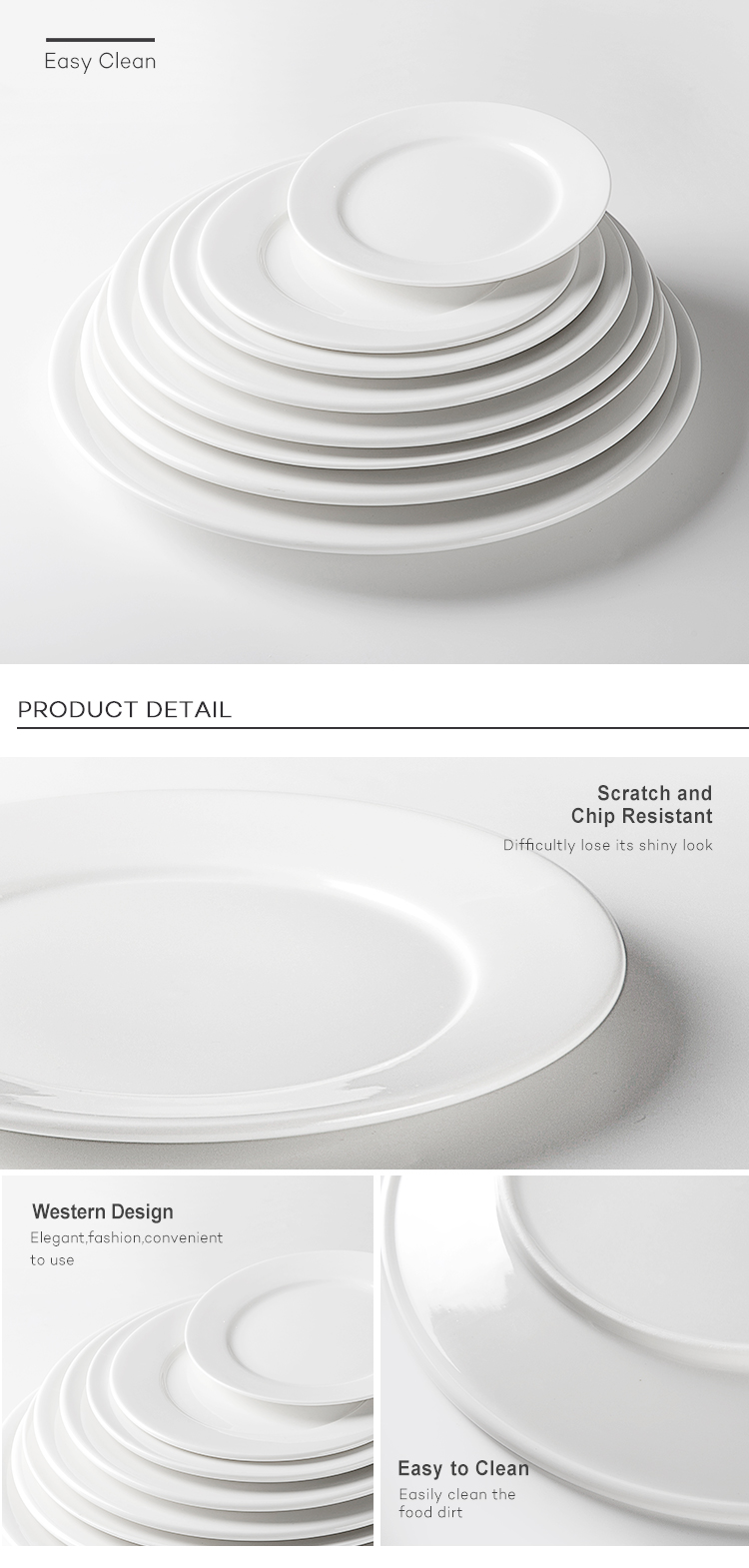 Wholesale White Hotel Banquet Porcelain Plate, Factory Price Restaurant Ceramic Crockery Plate~