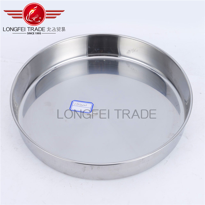 Good quality stainless steel round pizza tray /deep cake plate