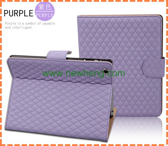 Excellent three folding plaid leather case for ipad 2 3 4 cover stand