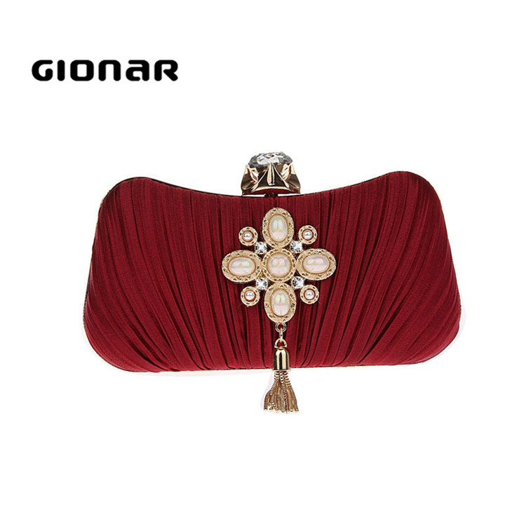 Cheap Online Metal Frame Beaded Red Evening Bags Purses Clutches with Tassel